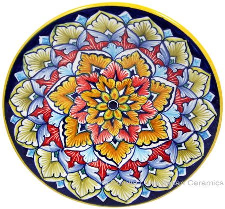 Ceramic Majolica Plate G06 Red Orange Brown 15cm