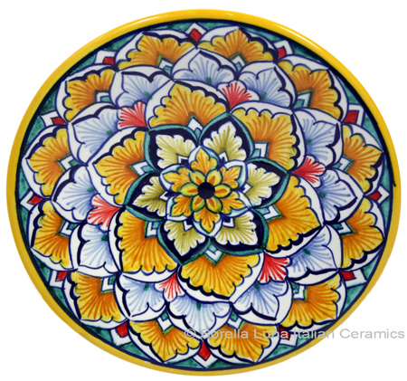 Ceramic Majolica Plate G06 Yellow Light Blue 15cm