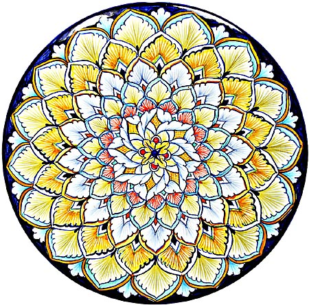 Ceramic Majolica Plate G08 Blue Yellow Brown 739 25cm
