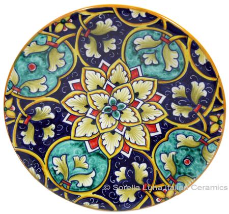 Ceramic Majolica Plate GEO Blue Green 15cm