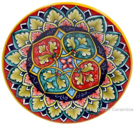 Ceramic Majolica Plate GEO Green Red 15cm