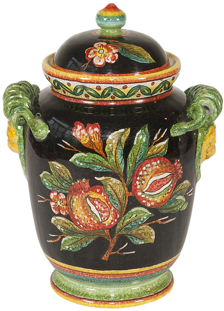 Italian Ceramic Black Pomegrante Urn