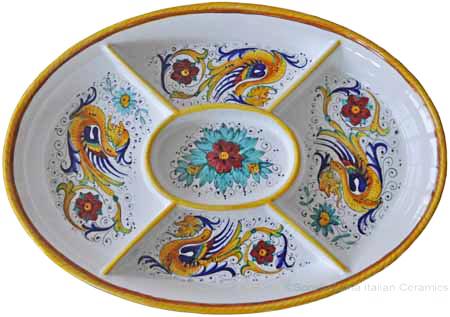 Maiolica Oval Antipasto Serving Tray Dish - Raffaellesco 37cm