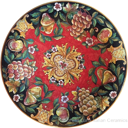 Italian Wall Plate - Red and Black with Fruit 50cm