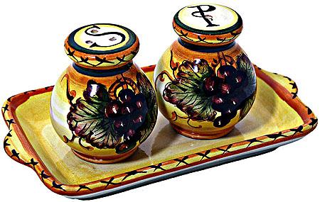 Tuscan Italian Ceramic Salt and Pepper Service