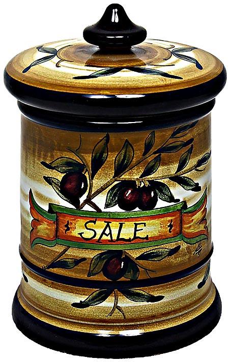 Ceramic Majolica Salt Jar Tuscan Brown Olive 20cm