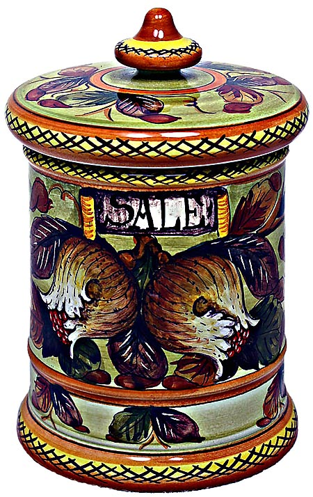 Ceramic Majolica Salt Jar Tuscan Pomegranate 20cm