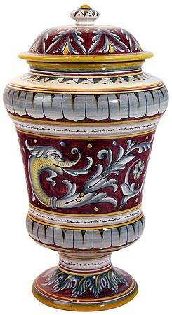 Italian Ceramic Delfini Urn