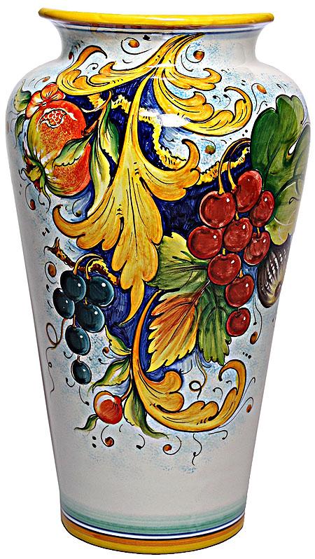 Deruta Italian Ceramic Vase - Grapes and Pomegranates
