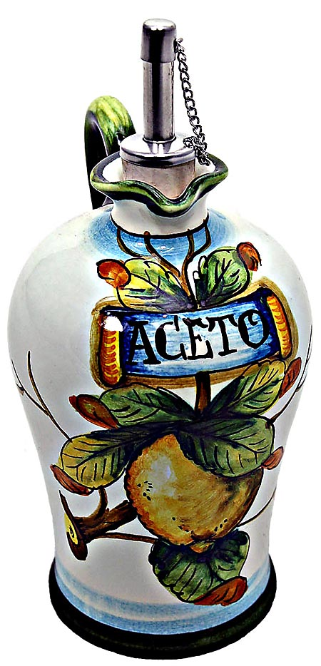 Ceramic Majolica Vinegar Dispenser Lemon White N 20cm