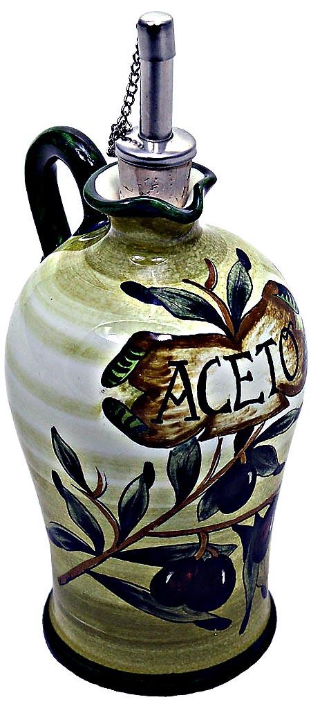 Ceramic Majolica Vinegar Dispenser Olive Green N 20cm