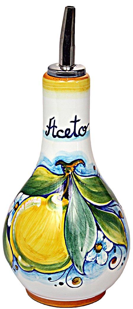 Ceramic Majolica Vinegar Dispenser Yellow Lemon 16cm