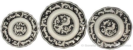 Deruta Italian Ceramic Dinner Place Setting - Fondo Nero