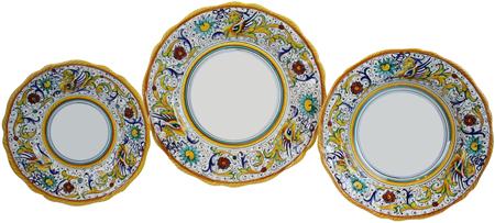Deruta Italian Ceramic Dinner Place Setting - Raffaellesco Scalloped