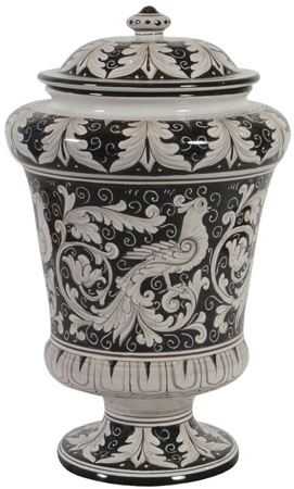 Italian Ceramic Centerpiece Urn - Black Doves