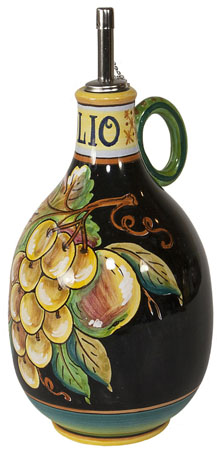 Olive Oil Dispenser GP Black with White Grapes 20cm