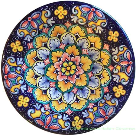 Ceramic Majolica Plate Flower Blue 20cm