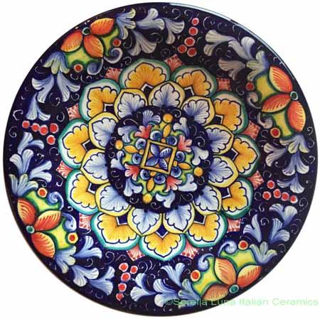 Ceramic Majolica Plate Flower Red Blue 20cm