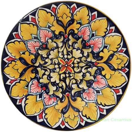 Ceramic Majolica Plate Brown Black Orange FDL