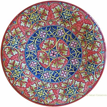 Majolica Plate - Fleur De Lis Red/Blue 30cm