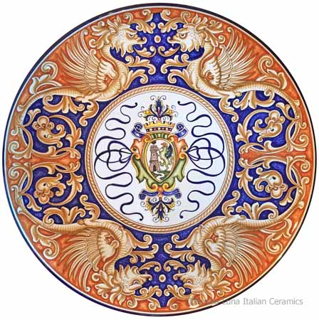 Ceramic Majolica Plate - Castle Shield/Dragons 42cm
