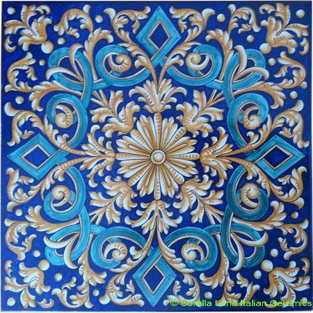 Tile Blue Diamond Weave