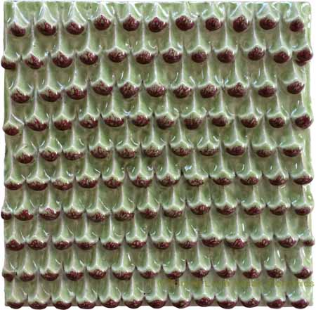 Tile - Light Green Pine Cones with Burgundy Relief