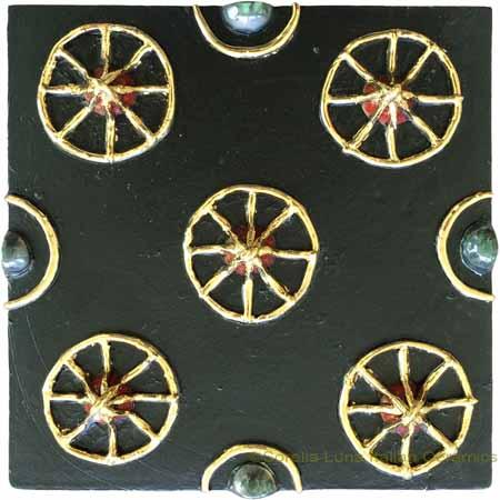 Tile - Gold Wheels on Black