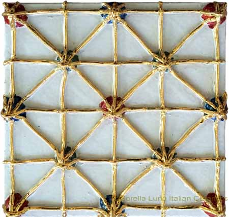 Tile - White with Gold Criss-Cross