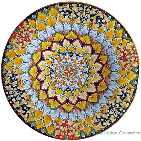 Ceramic Majolica Plate - Flower Orange Light Blue 42cm