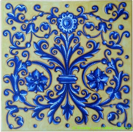 Tile Acanthus Flower Crest Blue Yellow