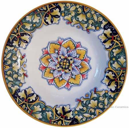 Italian Ceramic Pasta Bowl - Vario Antico - Flower4 Blue