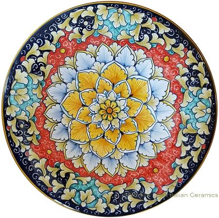Ceramic Majolica Plate - Acanthus Red/Orange 25cm