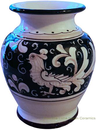 Italian Ceramic Vase Fondo Nero (Black Doves)