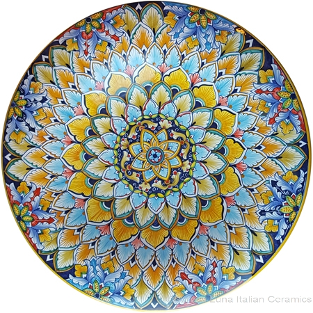 Ceramic Majolica Plate - Blue GE8