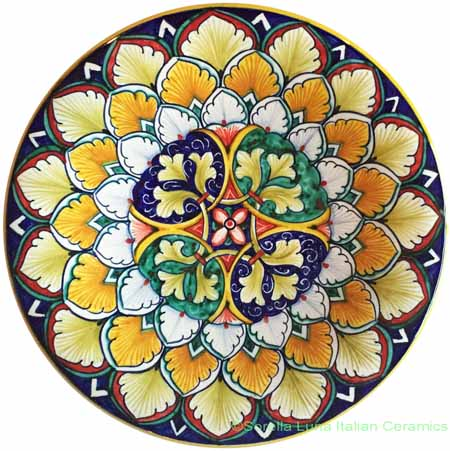 Ceramic Majolica Plate Geometrico Blue Green 20cm