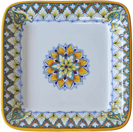 Deruta Rectangular Platter - Green/Brown Vario