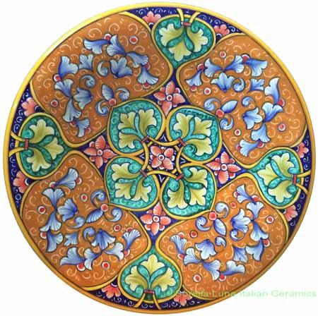Ceramic Majolica Plate Geometrico Green Orange