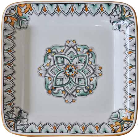 Deruta Rectangular Platter - Green/Orange FLD