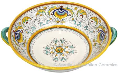 Ceramic Handled Peacock Serving Bowl