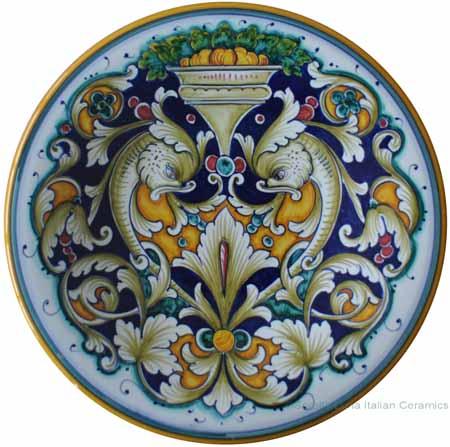 Majolica Plate - Dec70 Delfini 25cm