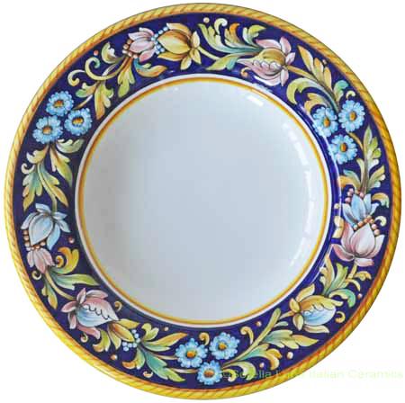 Deruta Italian Pasta Plate - Blue Flower