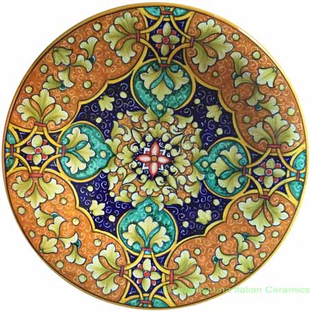 Ceramic Majolica Plate Geometrico Orange Green