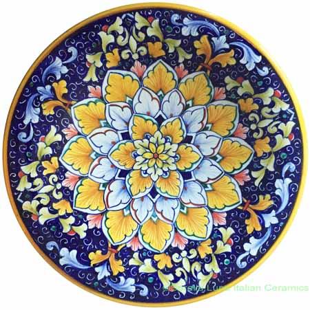 Ceramic Majolica Plate Flower Orange Blue
