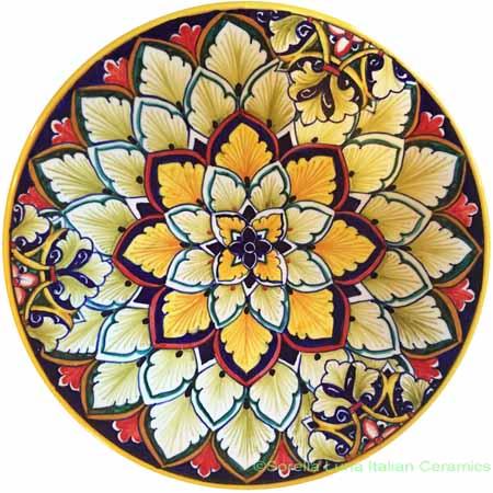 Ceramic Majolica Plate FDL Orange Blue 20cm