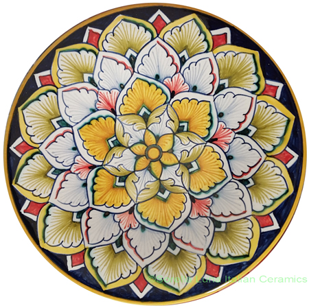 Ceramic Majolica Plate Orange Flower 6