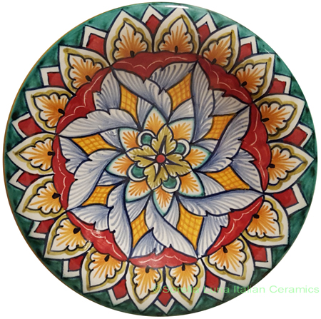 Ceramic Majolica Plate Spiral Red Green