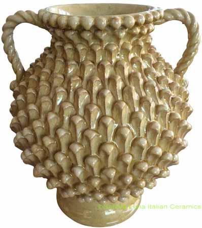 Tuscan Handmade Handled Vase - Honey with Pine