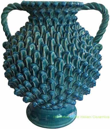 Tuscan Handmade Handled Vase - Blue with Pine
