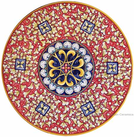 Ceramic Majolica Plate - Red Squares 35cm